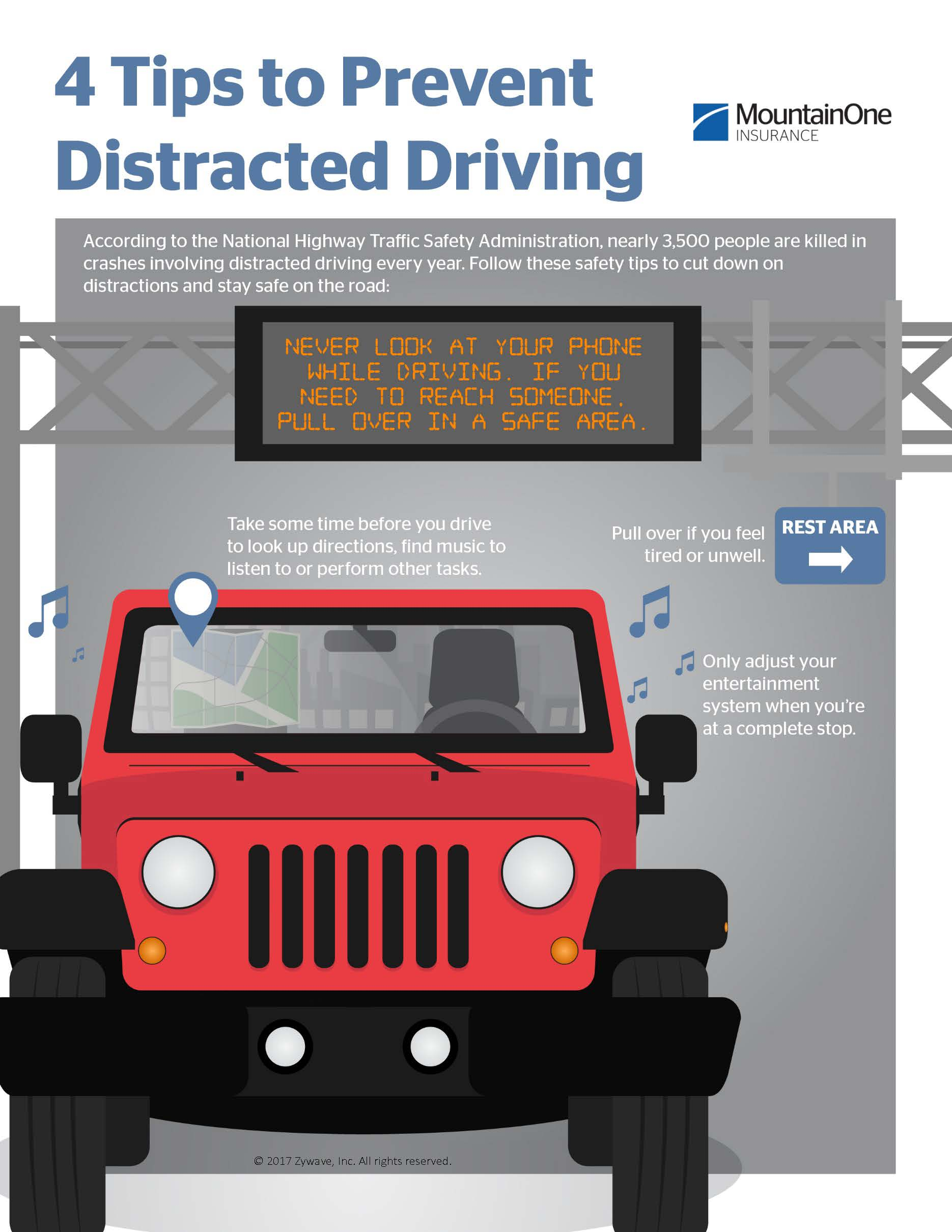 Infographic about preventing distracted driving