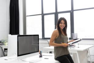 smiling female in office